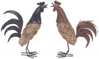 Plutus Brands 2 Assorted Wooden Rooster, RedBlue