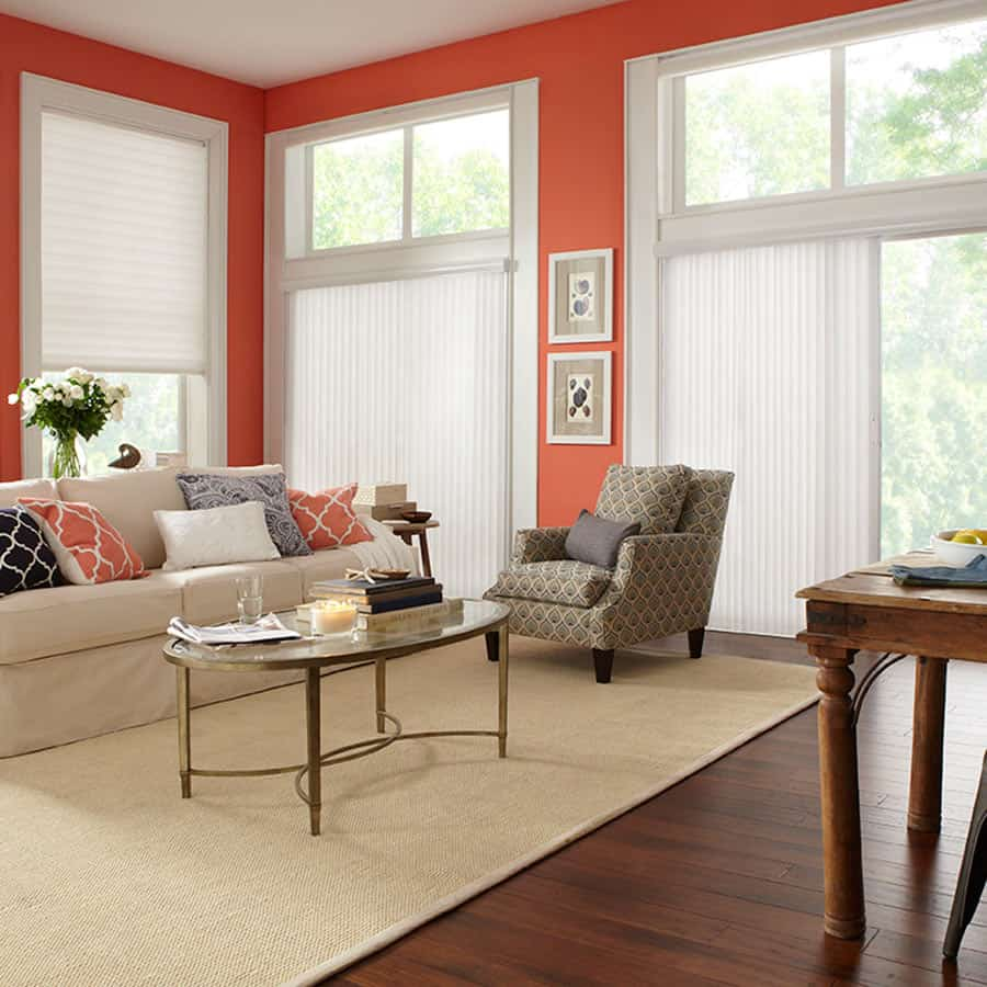 premier 2 light filtering vertical blinds - Window Treatment Ideas