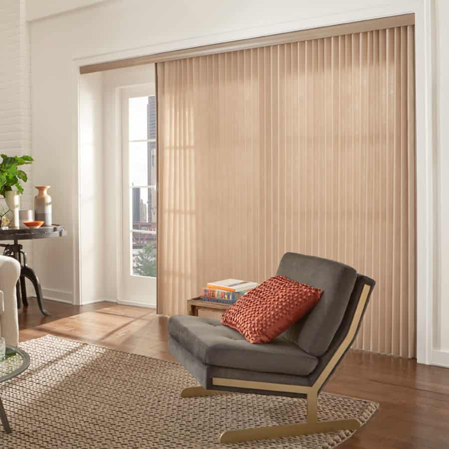Window treatments for sliding glass doors ideas tips premier 2 light filtering vertical blinds eventelaan Images