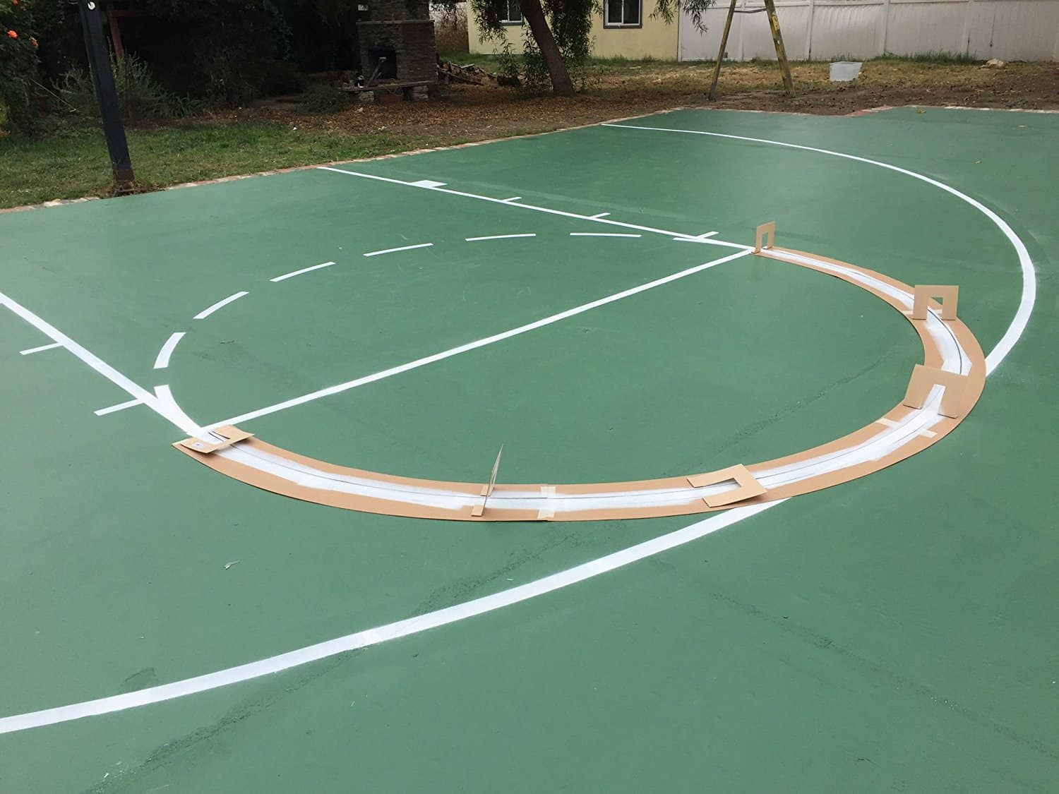 Tips to make your own basketball court stencils layouts for Outdoor basketball court template