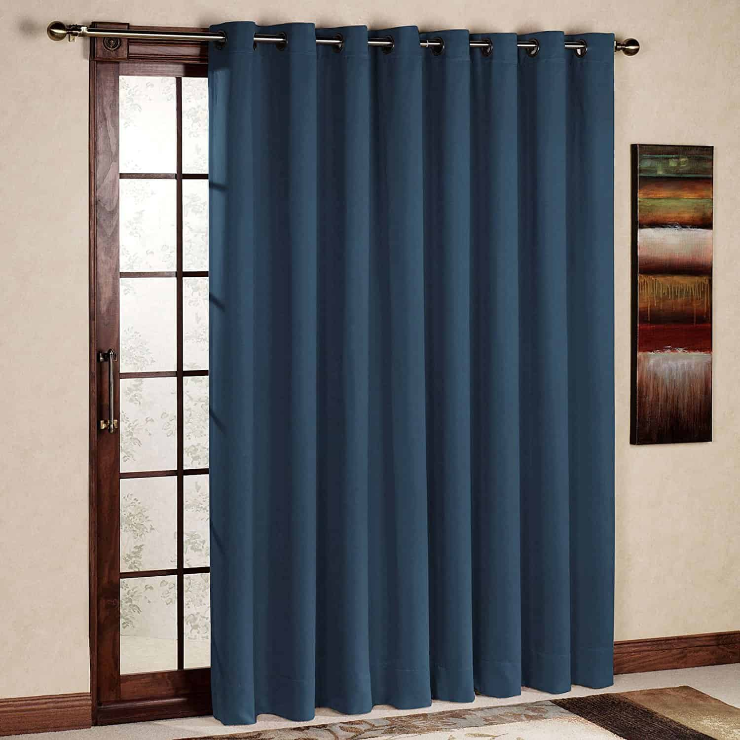 RHF Wide Thermal Blackout Patio door Curtain Panel, Sliding door curtains Antique Bronze Grommet Top