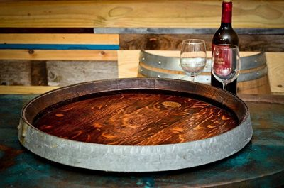 Rare XL Wine Barrel Top Lazy Susan