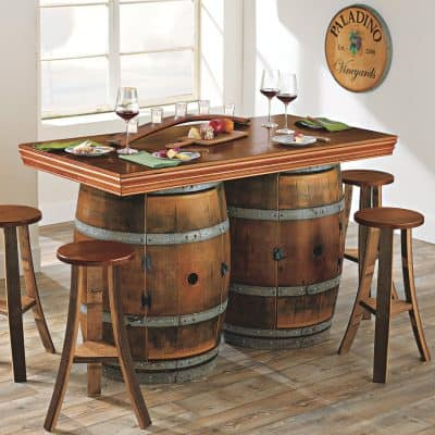 Reclaimed Wine Barrel BarIsland Set