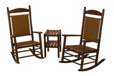 Recycled Earth-Friendly 3-Piece Rocker Furniture Set-Mahogany w Tigerwood Weave