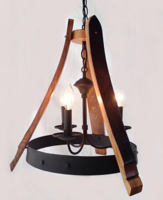 Sancho Mini wine barrel Chandelier recycled oak staves and hoop pendant light