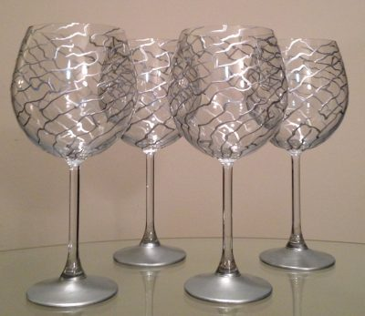 Silver Abstract Swirl' Made to Order. Hand painted wine glasses