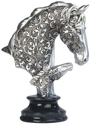 Silver Toned Engraved Father and Son Horse Statue