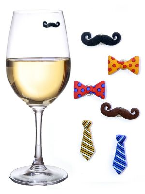 Simply Charmed Mustache Wine Charms & Magnetic Glass Markers for Stemless Glasses