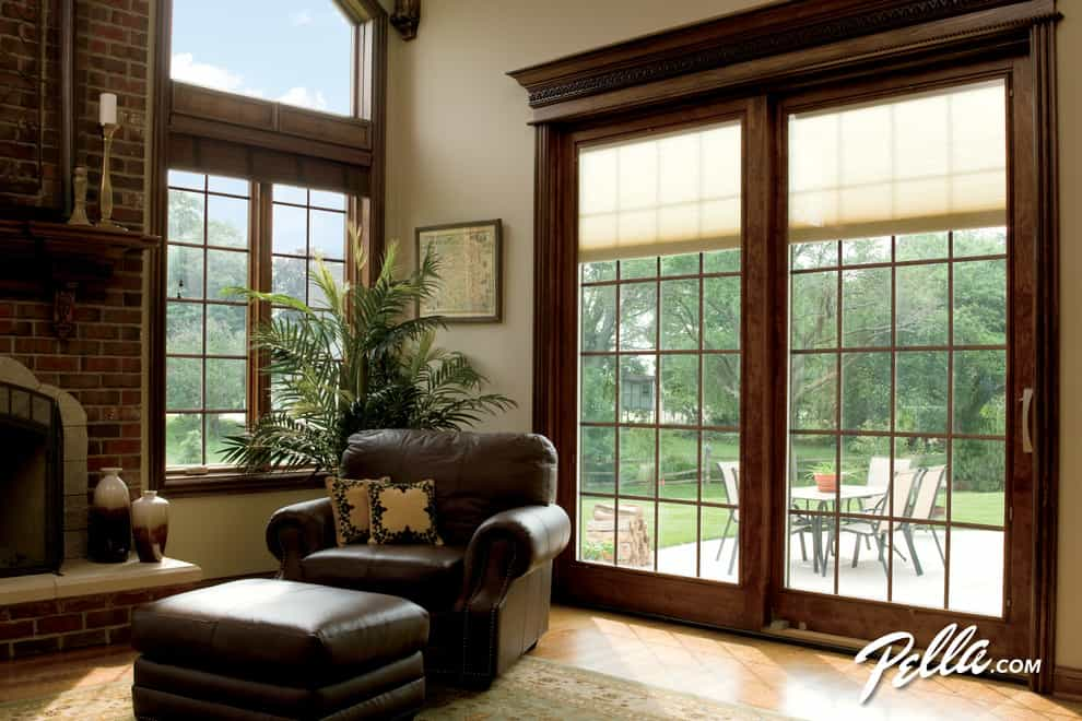 Window treatments for sliding glass doors ideas tips sliding patio door with built in blinds planetlyrics Images
