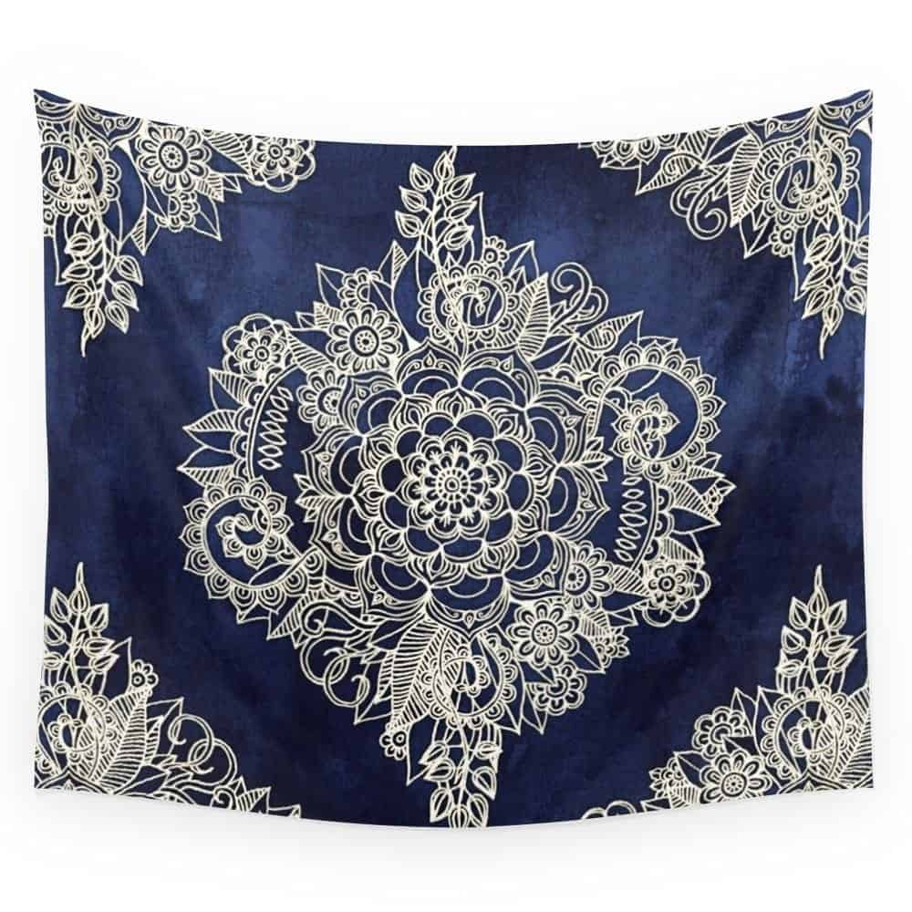 Society6 Cream Floral Moroccan Pattern On Deep Indigo Ink Wall Tapestry Large
