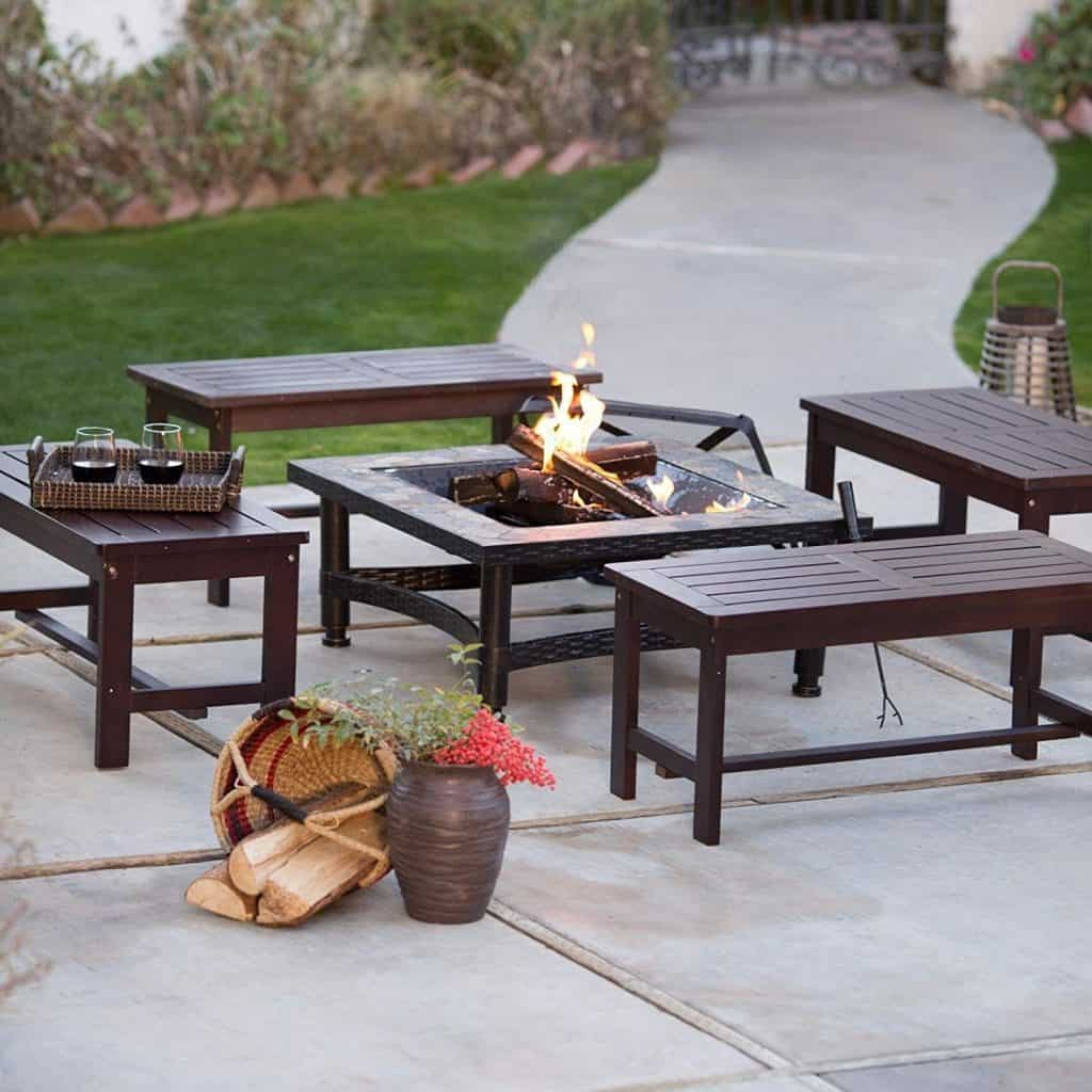 Square Black Slate Fire Pit