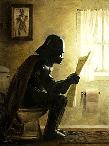 Star Wars Darth Vader Parody - 16 x 12 Gallery Wrapped Canvas Bathroom Wall Art