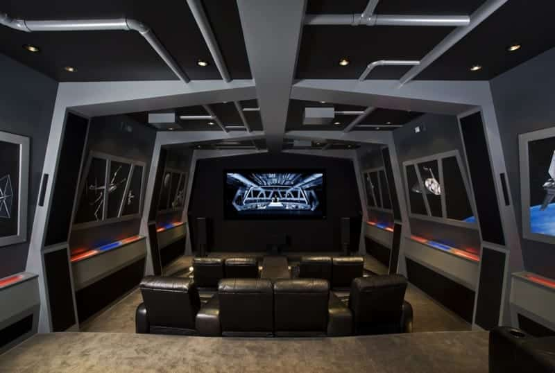 Star Wars Themed Custom Home Theater with Built In Leather Seating