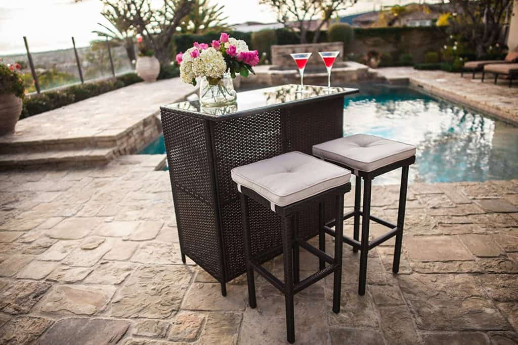 Suncrown Outdoor 3-Piece Brown Wicker Bar Set