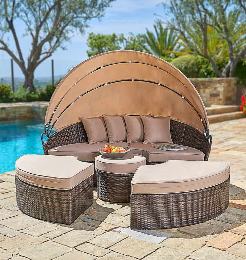 Suncrown Outdoor Furniture Wicker Daybed