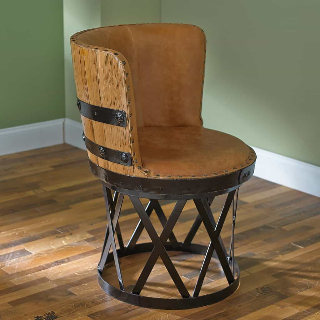 Delightful Tequila Barrel Stave Dining Chair With Leather Seat
