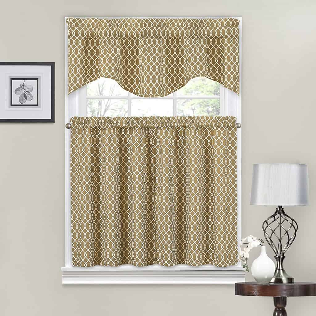 Traditions by Waverly Ellis Tier and Valance Set Natural
