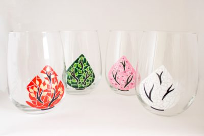 Trees of the Season Hand Painted Wine Glasses