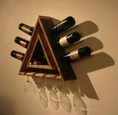 Triangular Cedar Wine Rack with Hanging Glass Storage and Integral Shelf