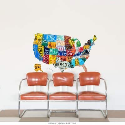 USA State License Plate Map Wall Decal Cutout