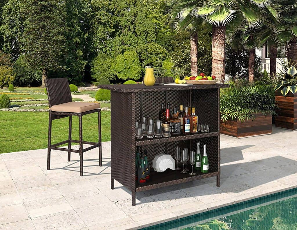 Ulax Furniture 3Pcs Patio Outdoor Wicker Bar Set with Stools