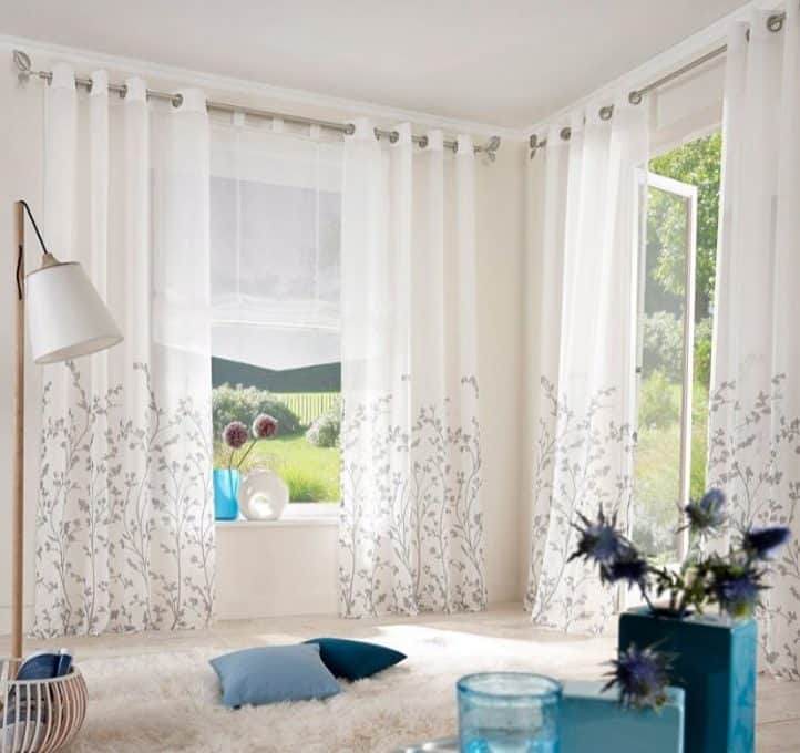 Uphome 1-Pair Wavy Leaves Vine Window Sheer Curtain Panels