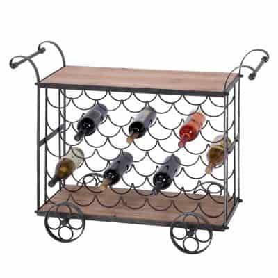 Urban Designs Aged Wooden Rolling 35 Bottle Display Kitchen Cart Wine Rack