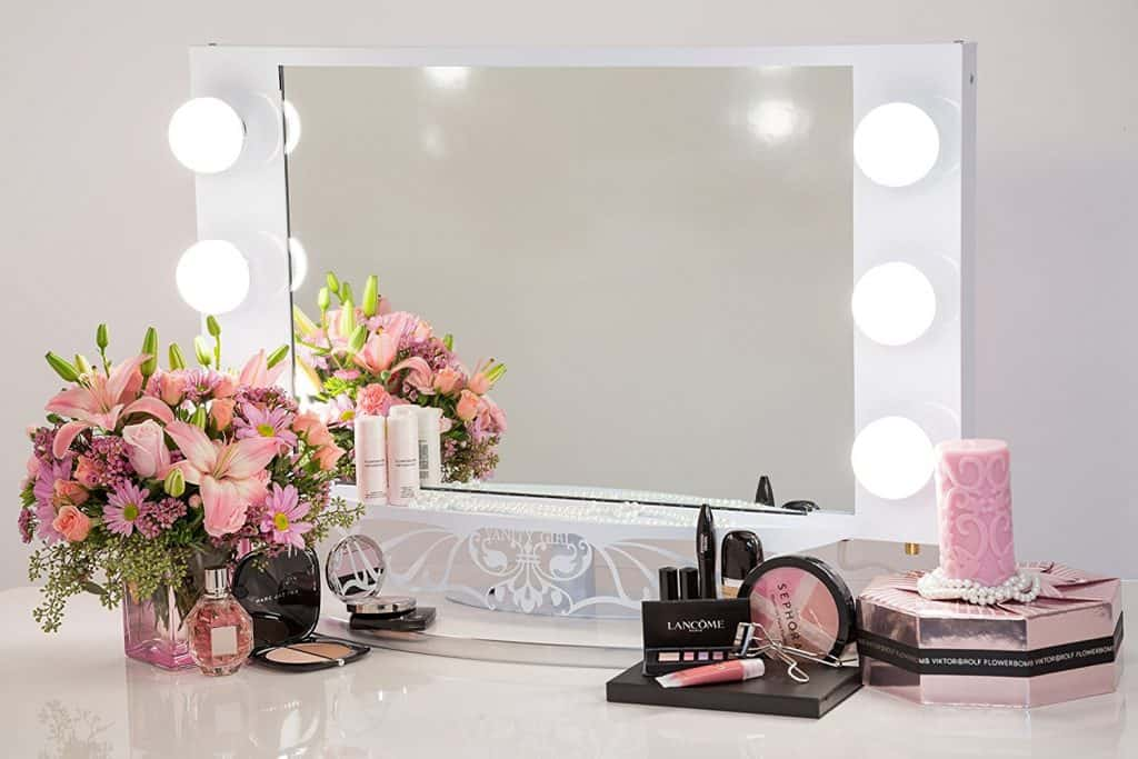 Vanity Girl Hollywood Starlet Lighted Vanity Mirror Gloss White