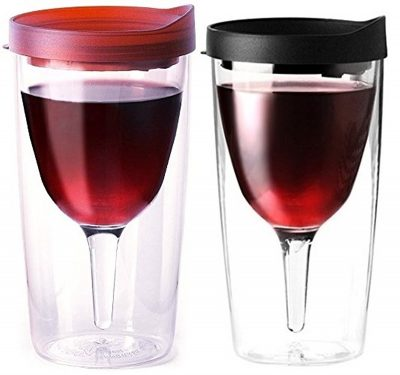 Vino2Go Double Wall Acrylic Tumbler with Merlot with Black Lids