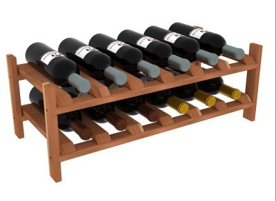 VinoGrotto 12 Bottle Modular Wine Shelves (Redwood)