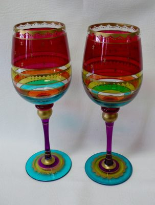 Vintage Pair of Hand Painted Wine Glasses