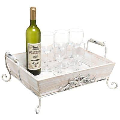 Vintage Shabby Chic White-Washed Wood Decorative Double-Handled Display Serving Tray