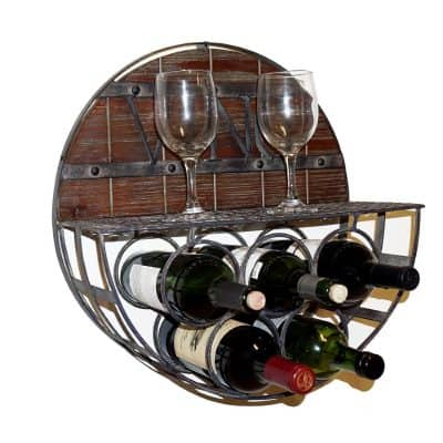 welland half round wood metal wine rack