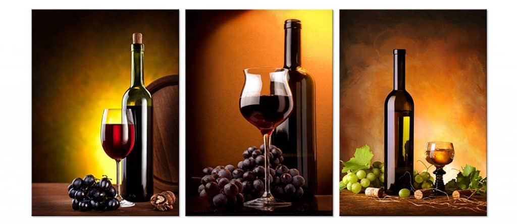WINE & BOTTLE Modern Wall Art Print Mounted on Fiberboards
