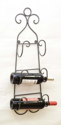 WROUGHT IRON WALL TOWELWINE BOTTLE HOLDER