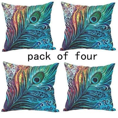 WUWE Beautiful Peacock Tail Personalized 18x18 Inch Square Cotton Blend Linen PillowCase Decor Cushion Covers