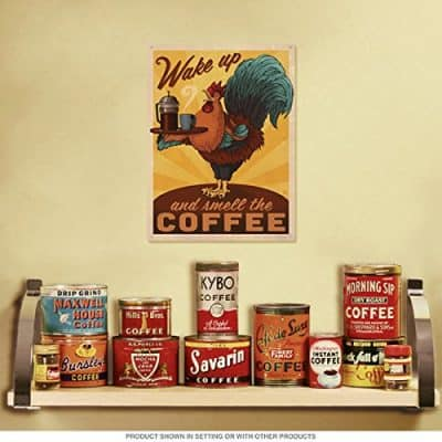 Wake Up Smell The Coffee Rooster Metal Sign Cafe Decor 12 x 16