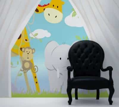 Wall Mural Decal Sticker Safari Jungle with Tent 8ft Tall