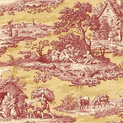 Wallpaper Designer French Country Life Toile Rust Red Saffron Gold