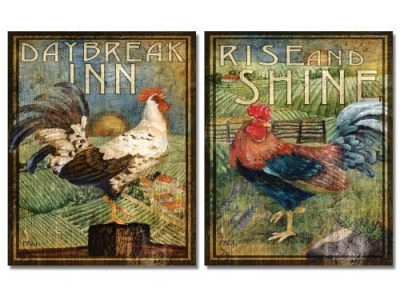 WallsThatSpeak 2 Retro Rooster Rustic Art Prints Country Kitchen Decor
