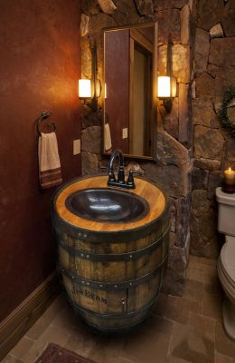 Whiskey barrel sink