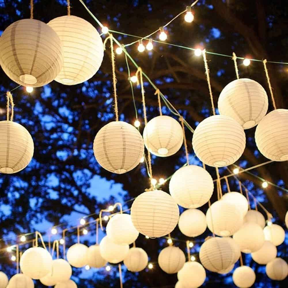 White Round Paper Lanterns Lamp Shades Metal Frame Great for Outdoor or Indoor Use,Parties