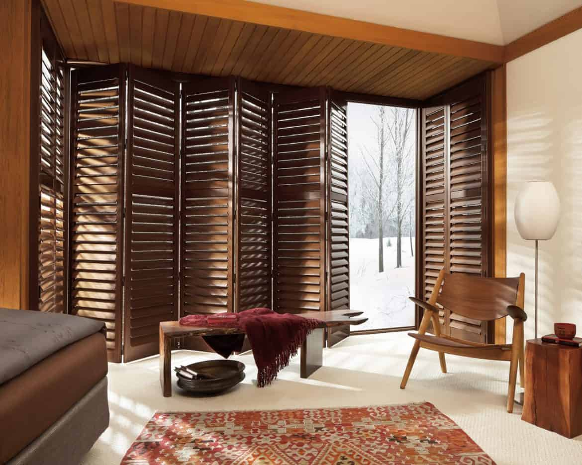 Window treatments for sliding glass doors ideas tips for Wood doors and shutters