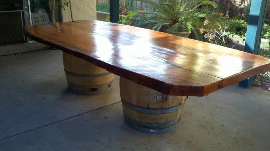A Simple Wine Barrel Dining Table. Wine Barrel Furniture Ideas You Can DIY or BUY  135 PHOTOS