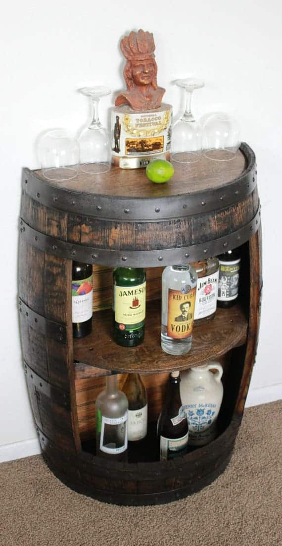 Wine Barrel Shelf, Liquor Cabinet