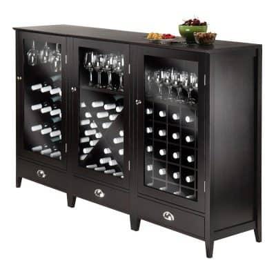 Winsome Wood 3-Piece Wine Cabinet Modular Set