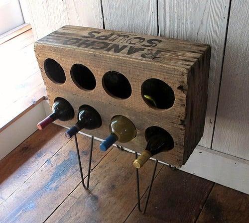 Wood Crate Wine Rack