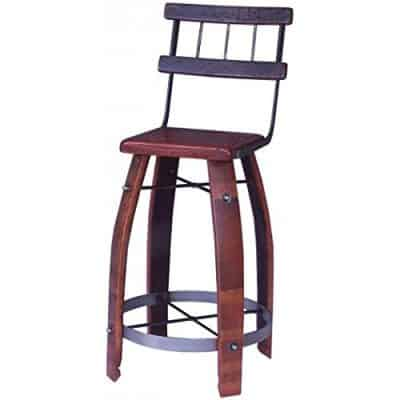 Wood Stave Stool w Back