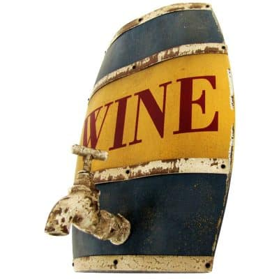Wood Wine Barrel Keg & Steel Hoop & Water Tap Sign Bar Pub Wine Cellar Tasting Wall Decor
