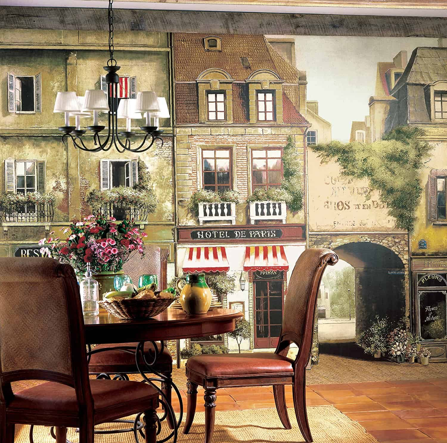 York Wallcoverings Europa II Paris Cafe Prepasted Mural, Earthy BrownsStone  GrayRedWhiteBlack